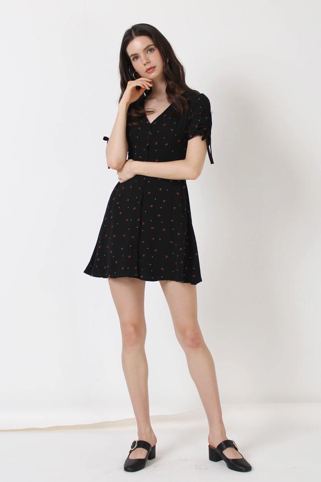 LILY MINI FLORAL DRESS BLACK