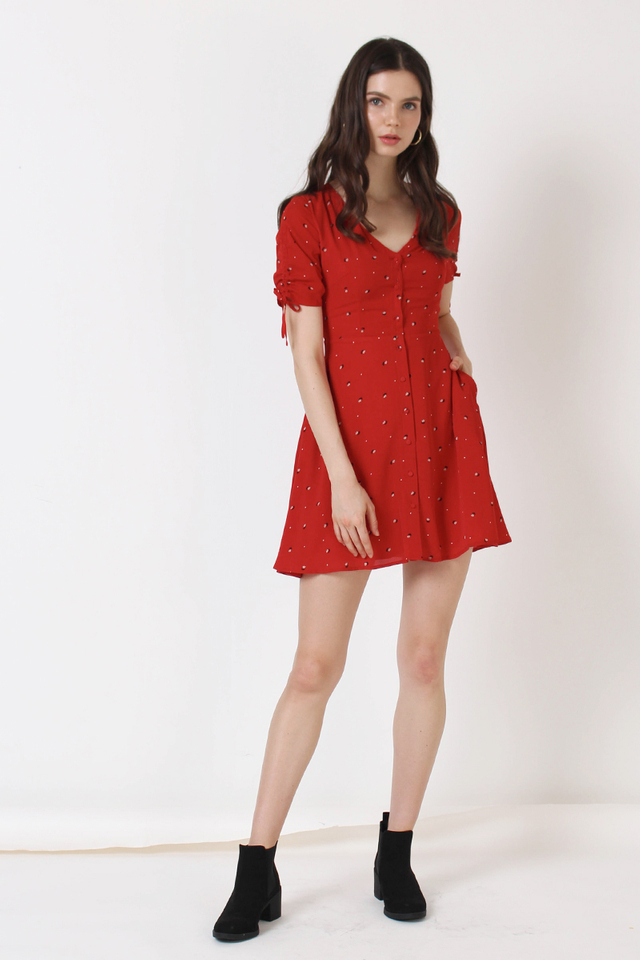 LILY MINI FLORAL DRESS RED