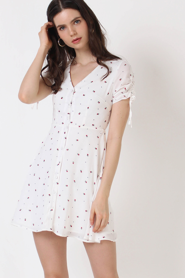 LILY MINI FLORAL DRESS WHITE (RESTOCK)