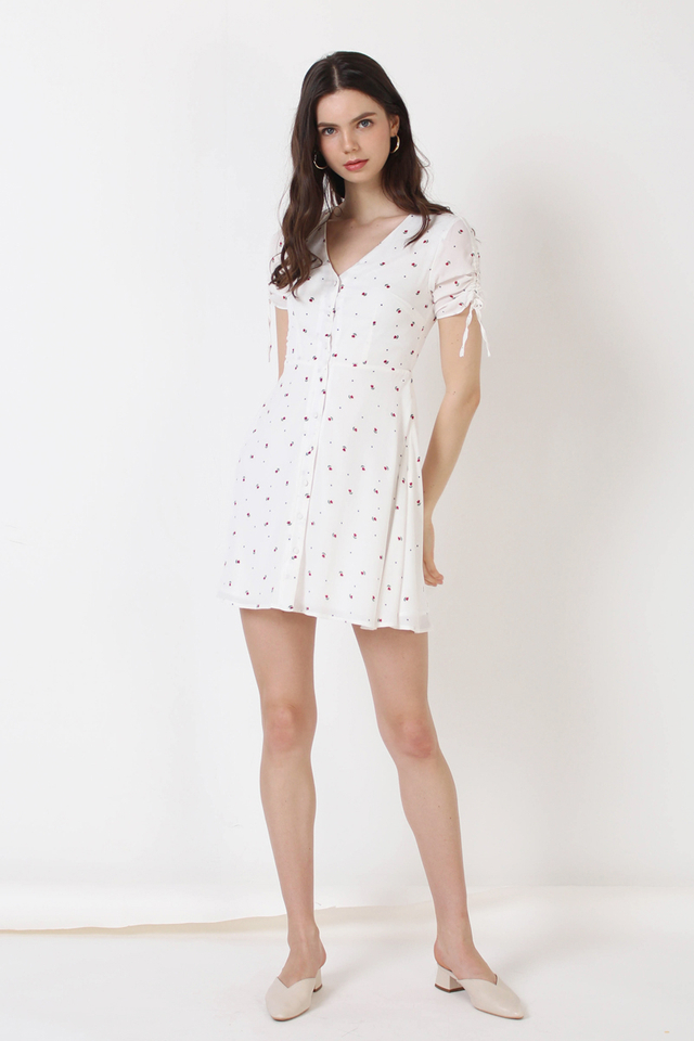 LILY MINI FLORAL DRESS WHITE (BACKORDER)