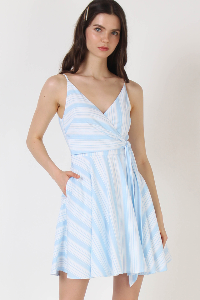 MADDOX WRAP DRESS BLUE