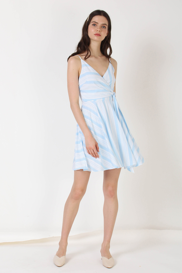 MADDOX WRAP DRESS BLUE