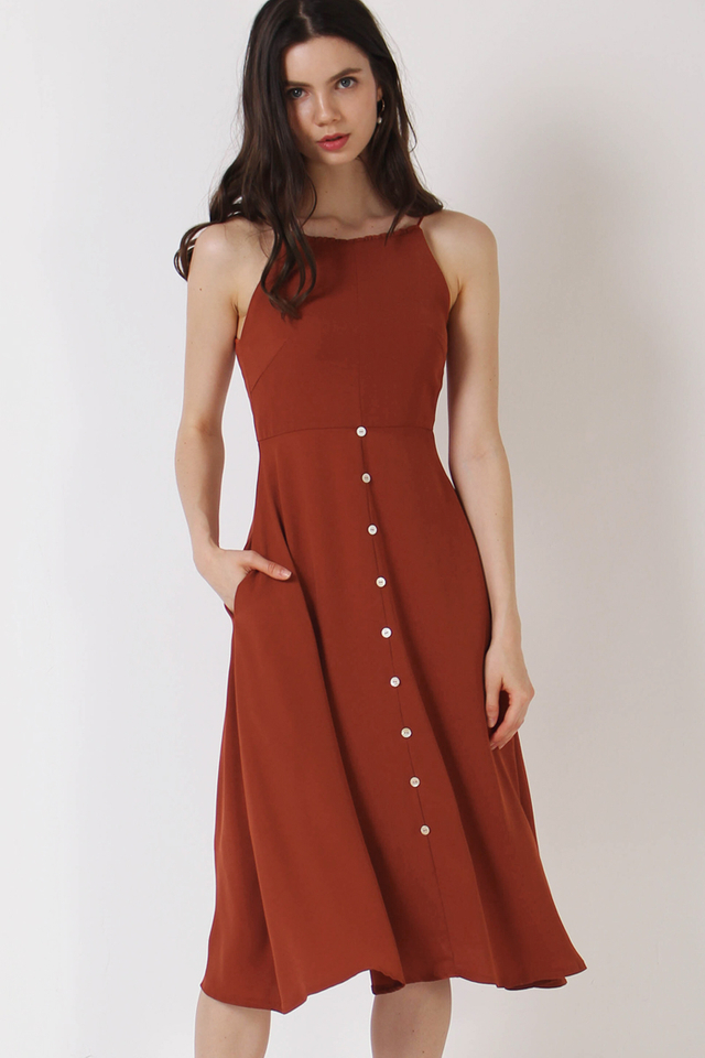 PIPER HIGH NECK DRESS RUST