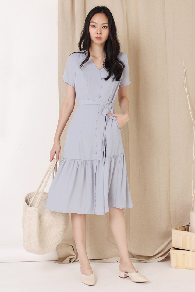 ASTRIA BUTTON DOWN DRESS DUSTY BLUE