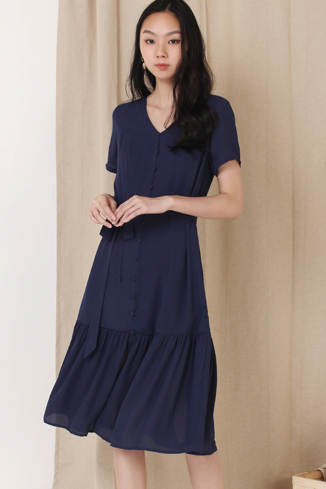 ASTRIA BUTTON DOWN DRESS NAVY