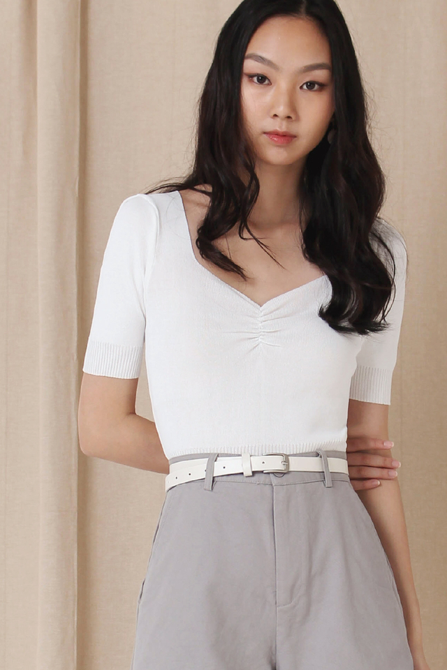 CARLY KNIT RUCHED TOP WHITE BACKORDER