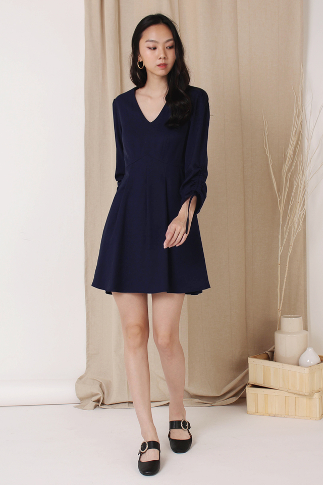 FIONA RUCHED SLEEVE DRESS NAVY