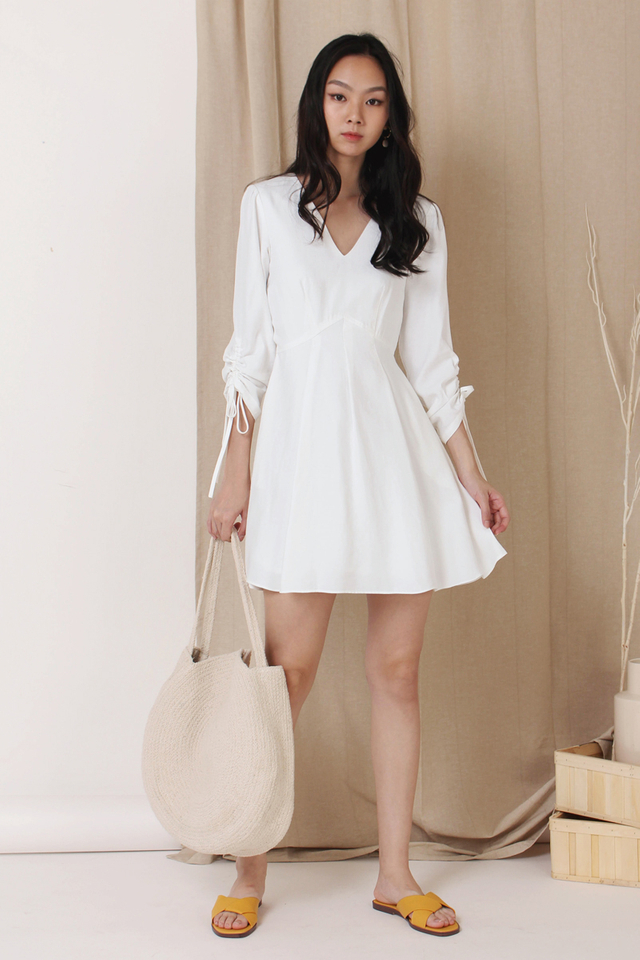 FIONA RUCHED SLEEVE DRESS WHITE (BACKORDER)