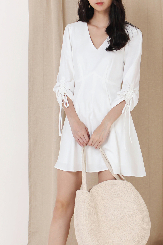 FIONA RUCHED SLEEVE DRESS WHITE (RESTOCK)