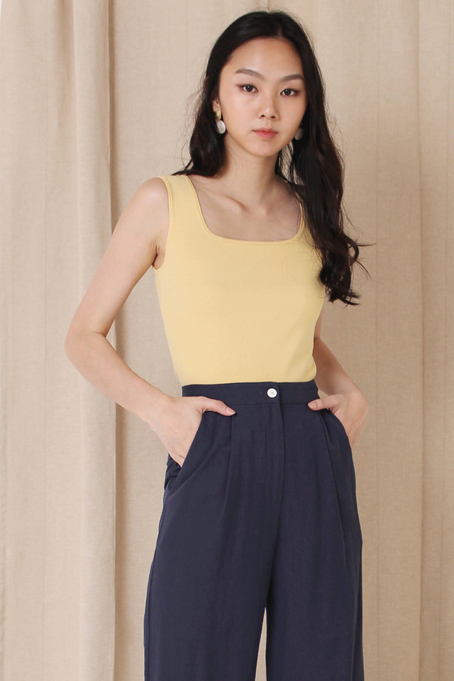 HARRIET SQUARE KNIT TOP PALE YELLOW (BACKORDER)