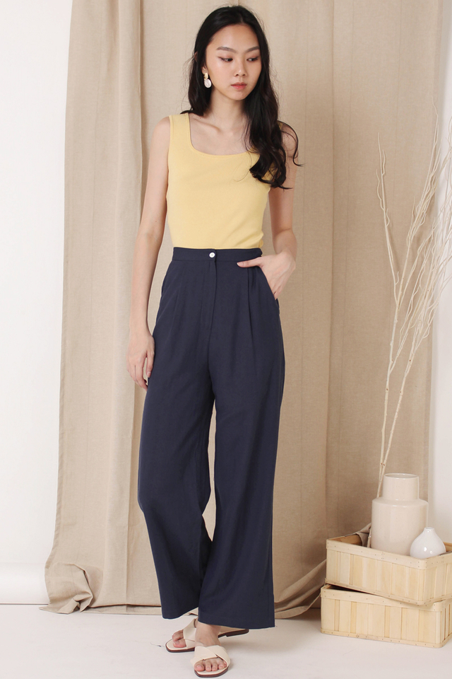 HARRIET SQUARE KNIT TOP PALE YELLOW (RESTOCK)