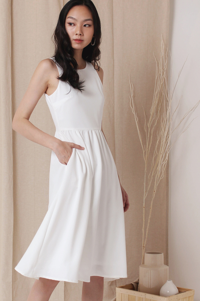 CELESTE SIDE BUTTON DRESS WHITE