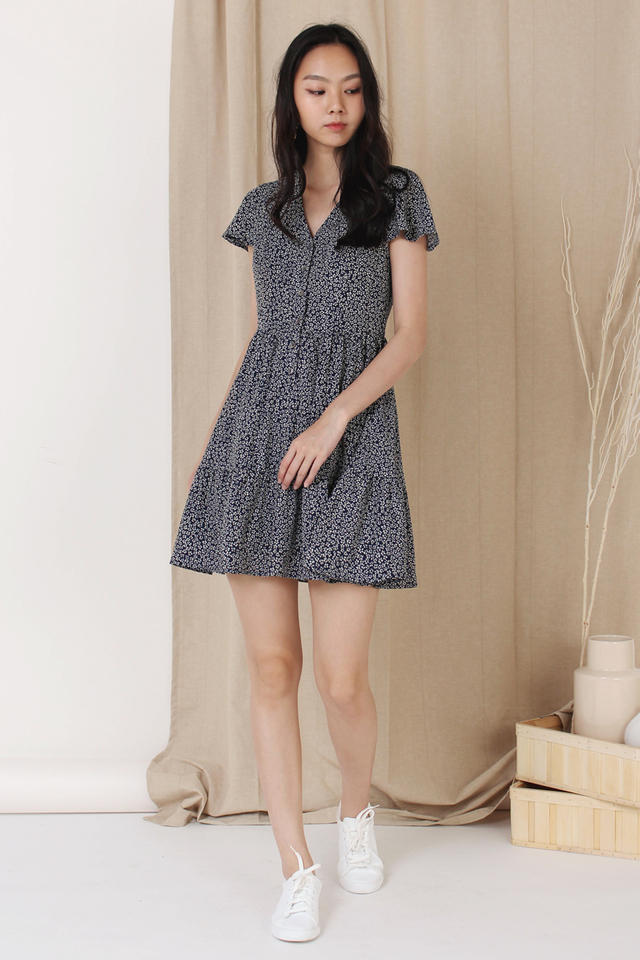 SONIA MINI TIER DRESS NAVY (BACKORDER)