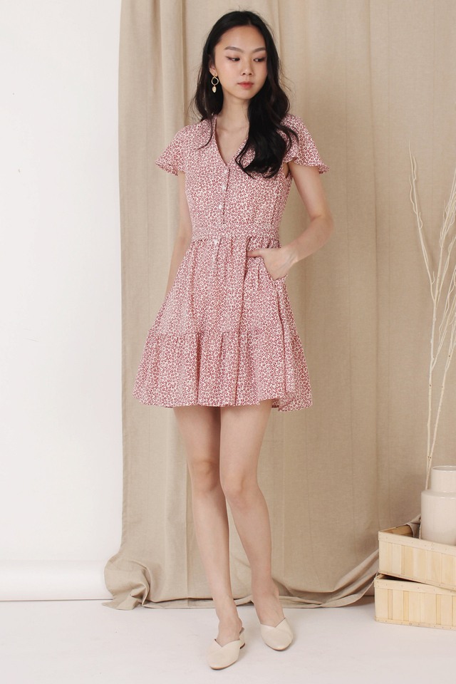 SONIA MINI TIER DRESS RED (BACKORDER)
