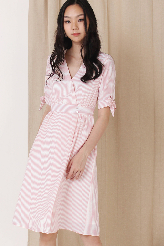 KYLA TIE SLEEVE WRAP DRESS BLUSH