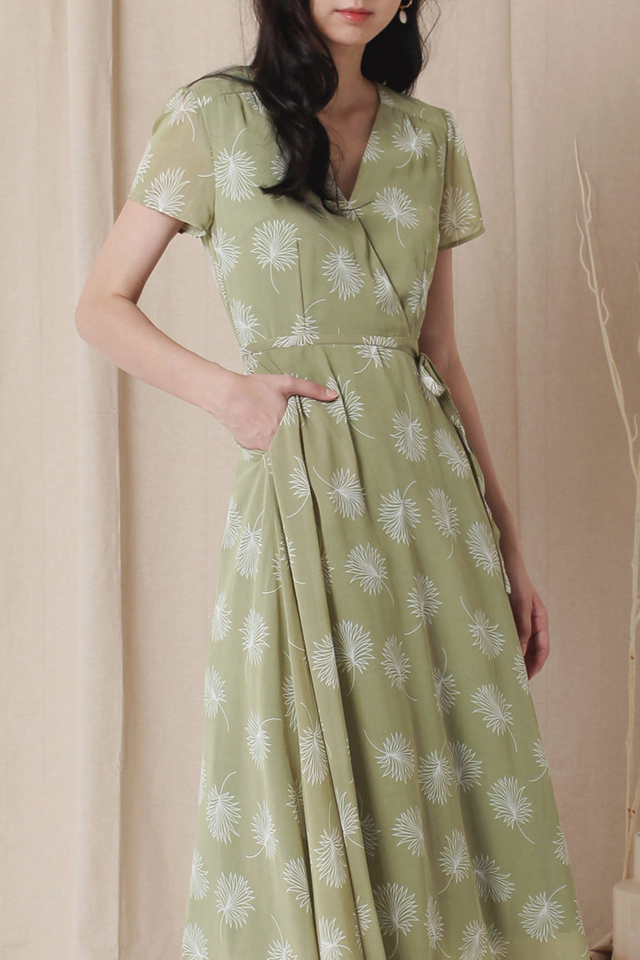 ANNA CAPSLEEVE DRESS SAGE