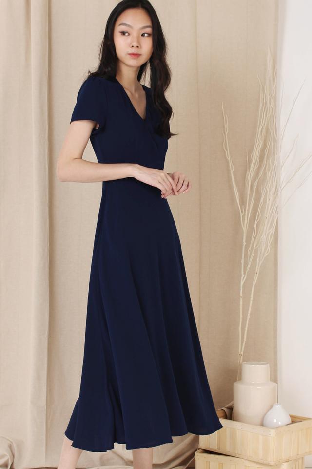 ANNA CAPSLEEVE DRESS NAVY