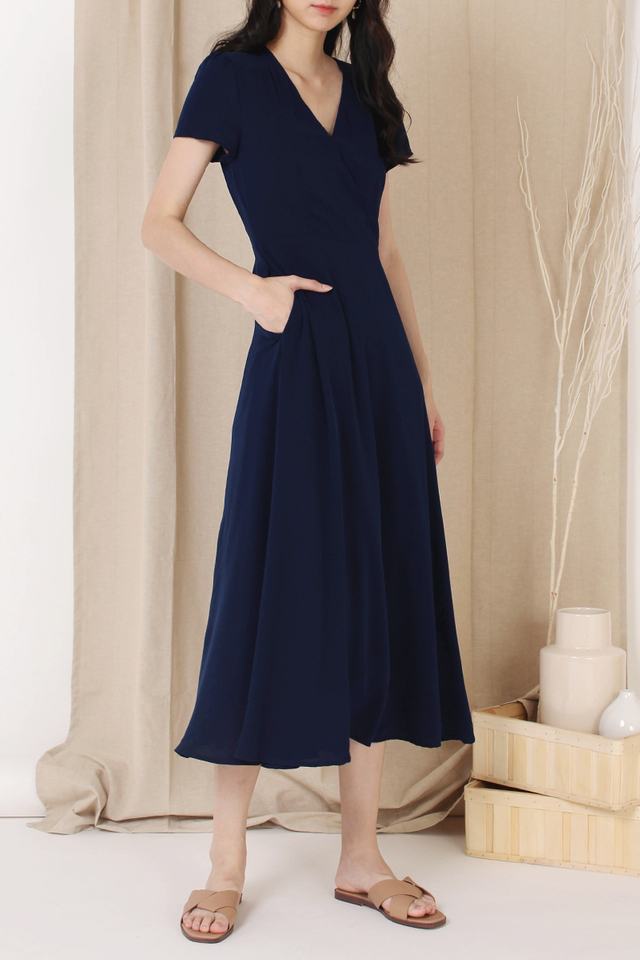 ANNA CAPSLEEVE DRESS NAVY