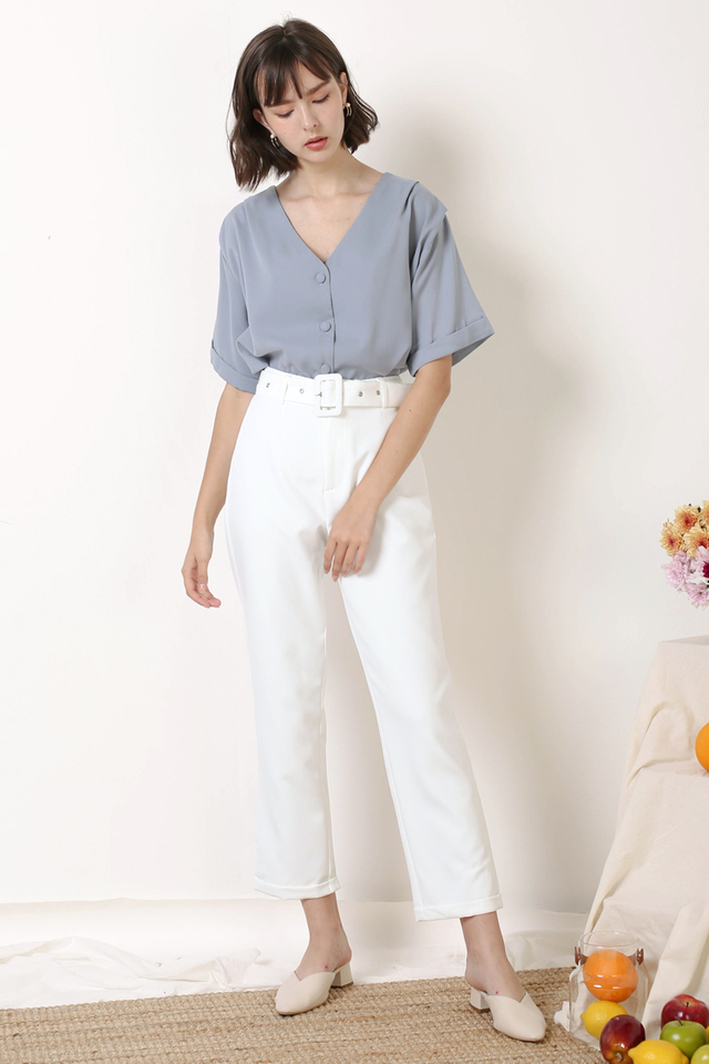 ELENA RELAXED BLOUSE DUSTY BLUE