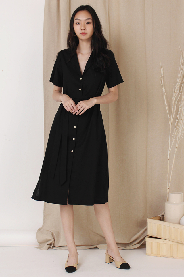 GABBY CAMP COLLAR SHIRT DRESS BLACK