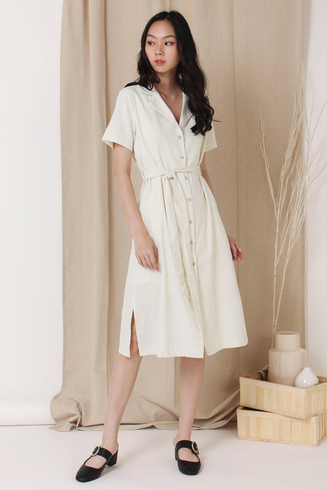 GABBY CAMP COLLAR SHIRT DRESS BONE