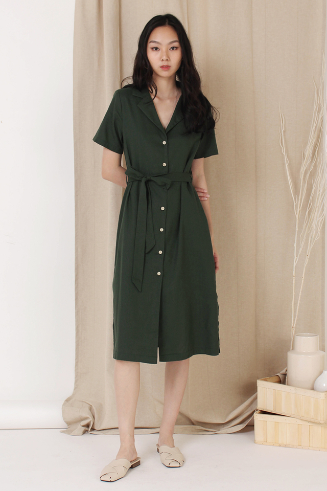 GABBY CAMP COLLAR SHIRT DRESS FOREST