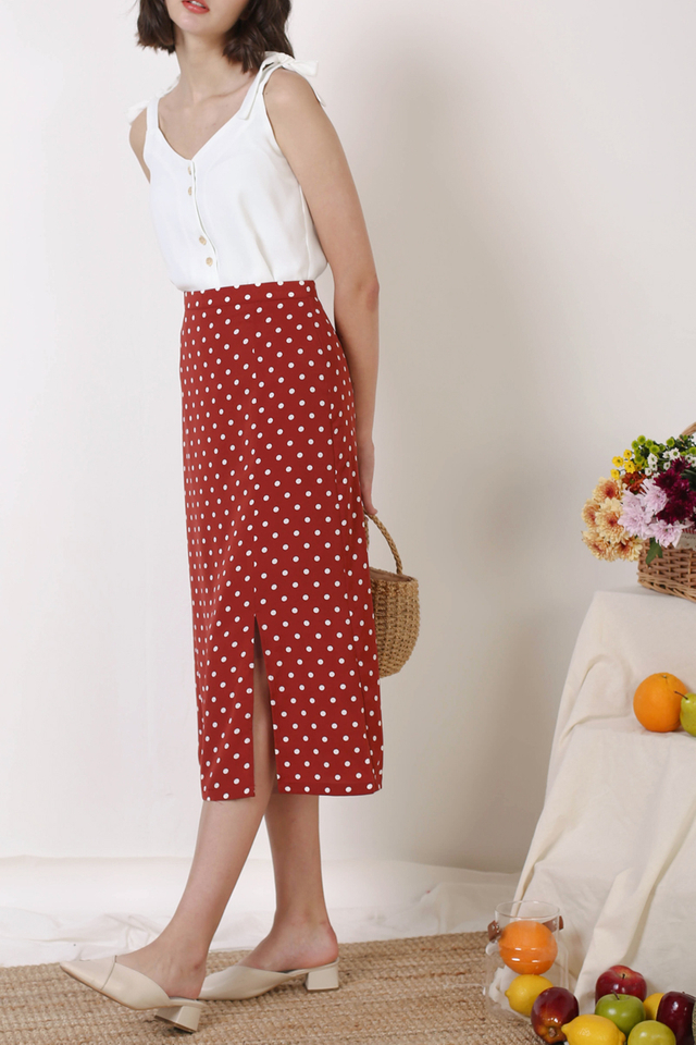 HOLLY POLKADOT SKIRT RUST