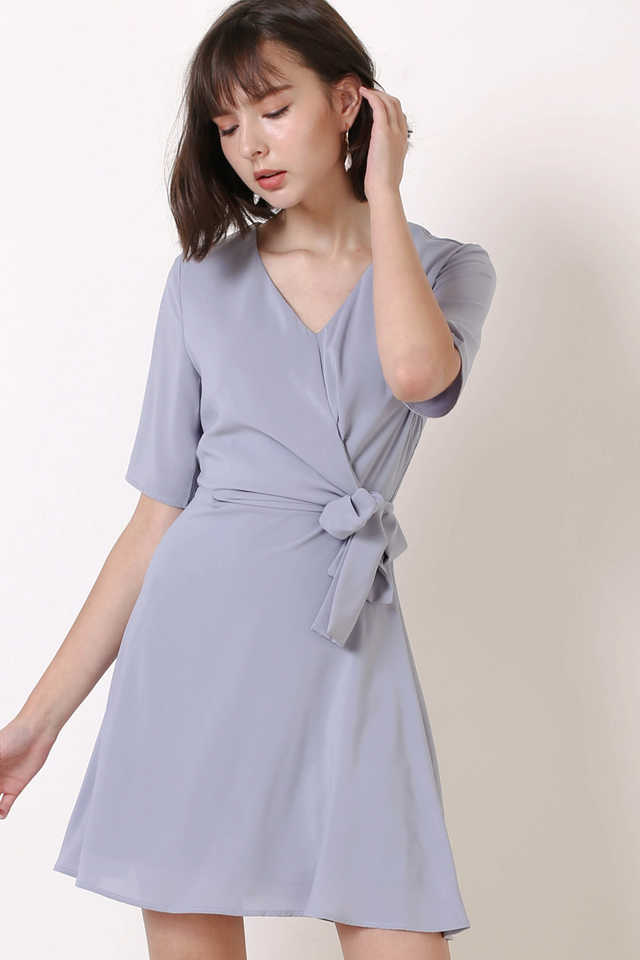 LEAH TIE WAIST DRESS PERIWINKLE