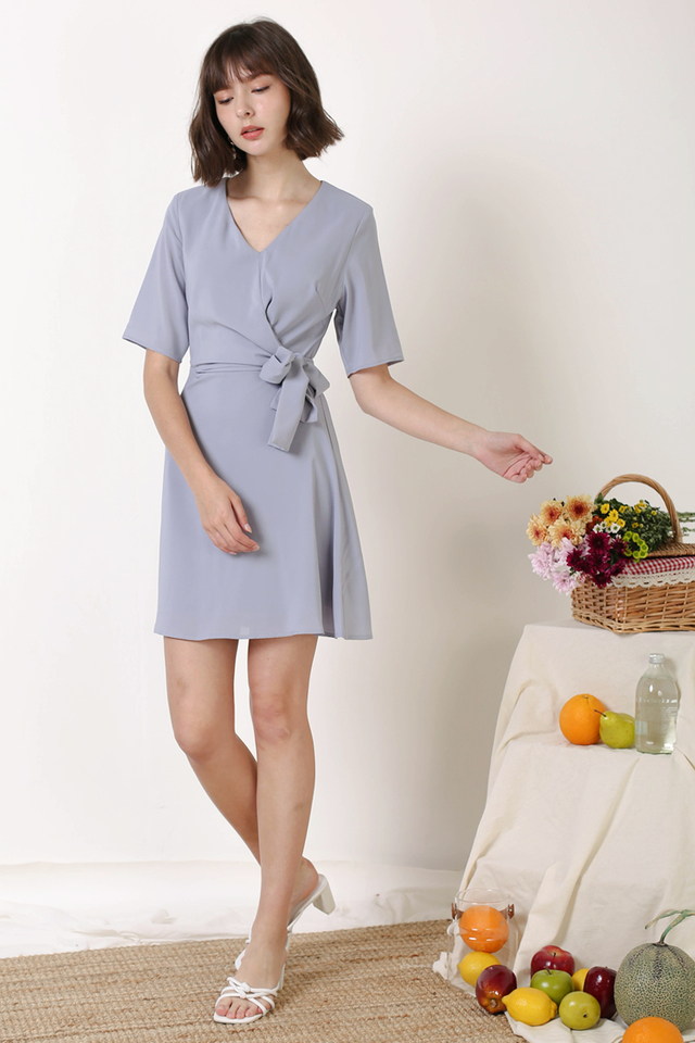 LEAH TIE WAIST DRESS PERIWINKLE
