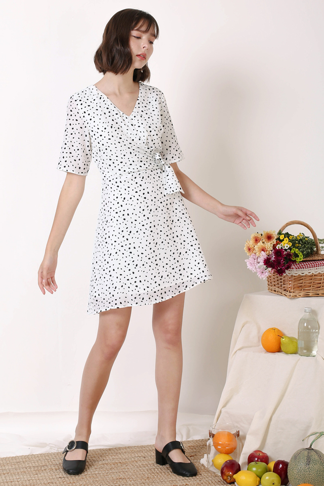 LEAH TIE WAIST DRESS WHITE