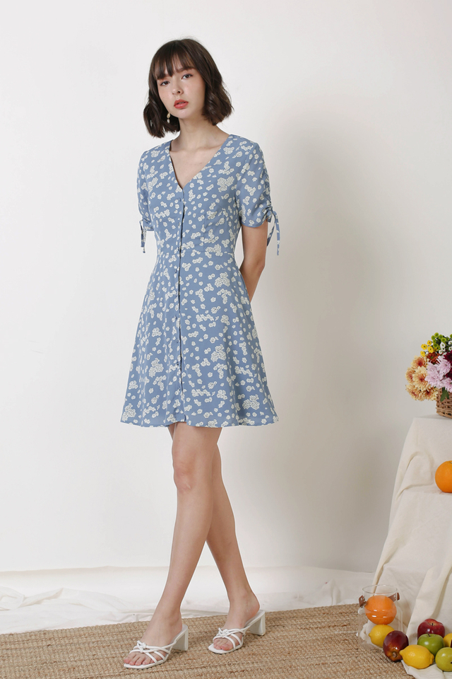 LILY BUTTONDOWN DRESS BLUE FLORALS