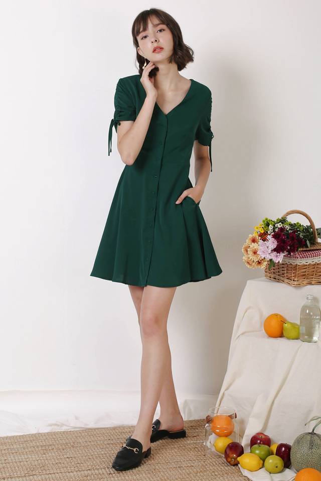 LILY BUTTONDOWN DRESS FOREST