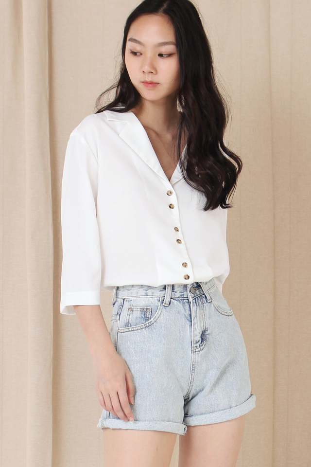 LUNA DOUBLE BUTTON SHIRT WHITE