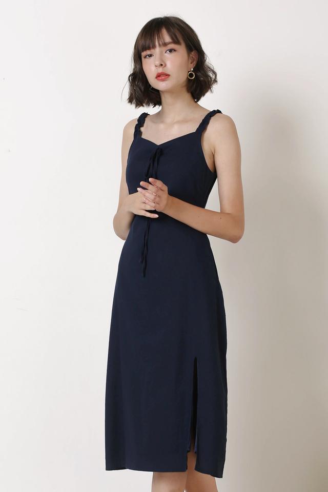 SOLEIL RUFFLES STRAP DRESS NAVY