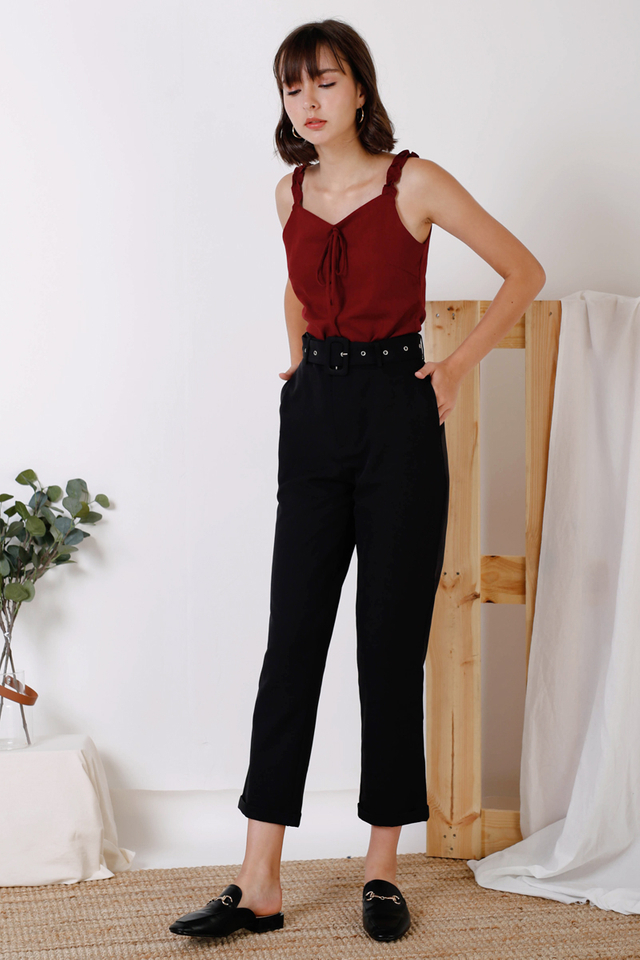 EMELIA BELTED PANTS BLACK