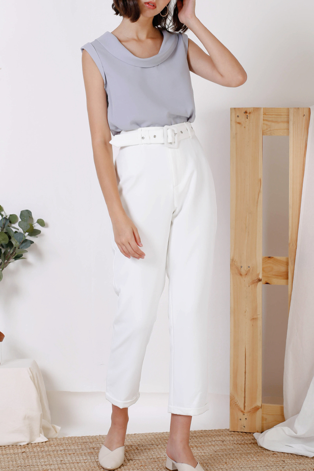 EMELIA BELTED PANTS WHITE