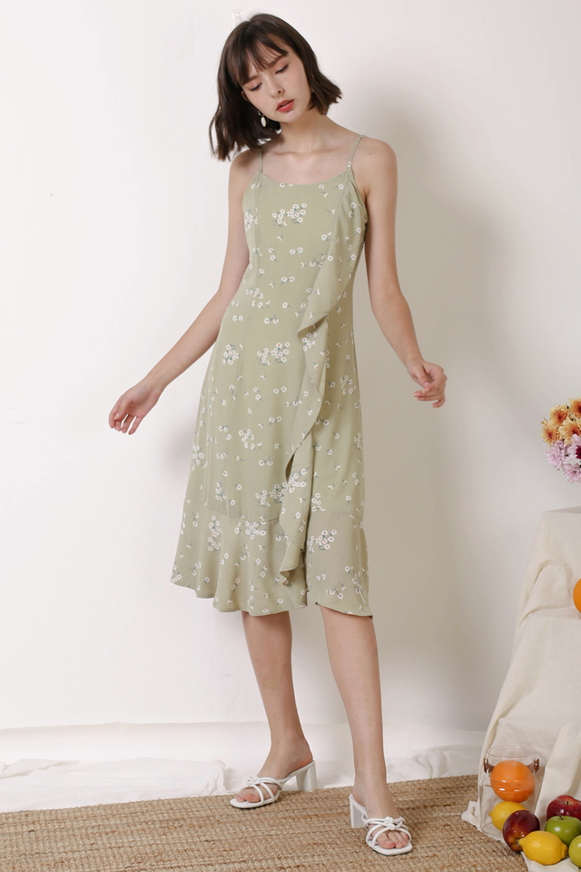 ETHEL SIDE RUFFLES DRESS PISTACHIO