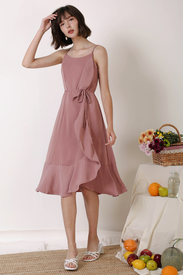 ETHEL SIDE RUFFLES DRESS ROSEWOOD