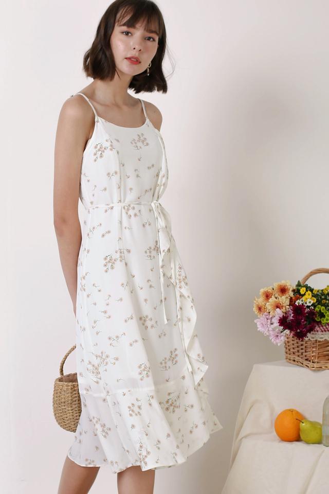 ETHEL SIDE RUFFLES DRESS WHITE