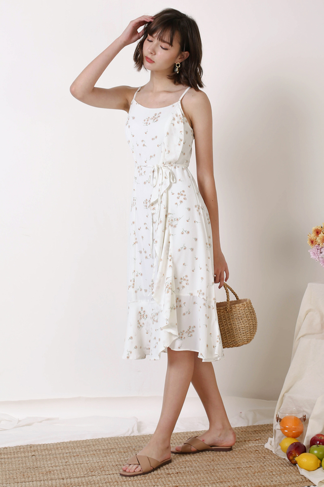 ETHEL SIDE RUFFLES DRESS WHITE