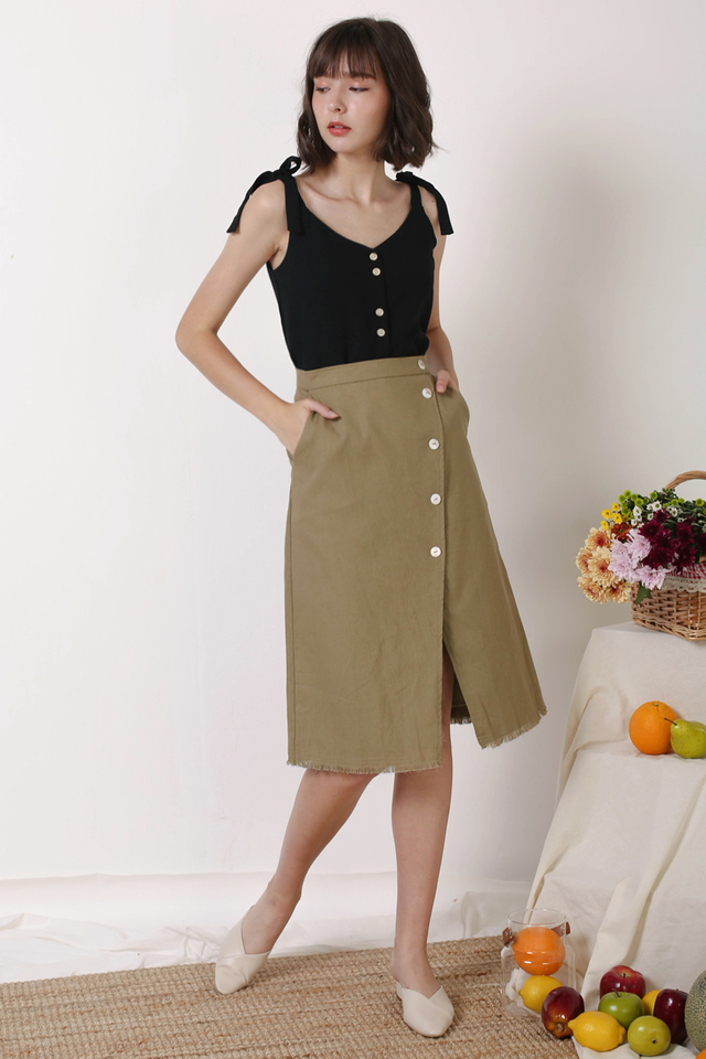 HAILEY RAW HEM SKIRT MOSS
