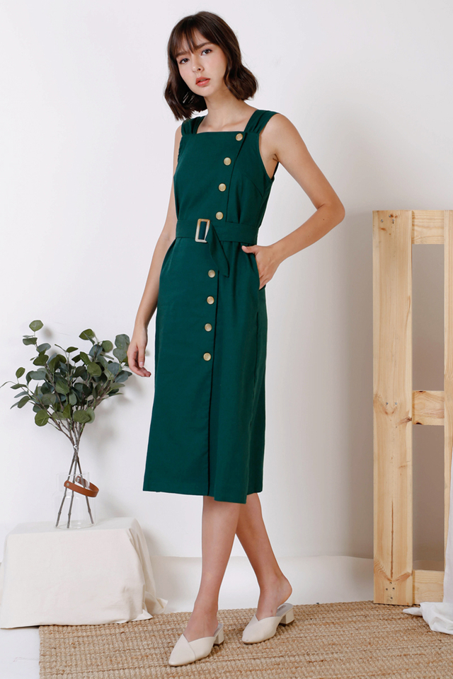 LAUREN SIDE BUTTON DRESS FOREST