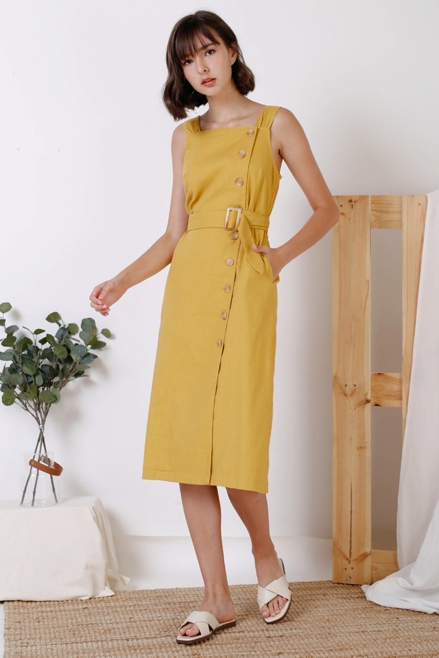 LAUREN SIDE BUTTON DRESS MUSTARD