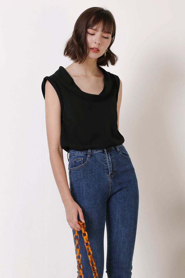 SARA COWL NECK TOP BLACK