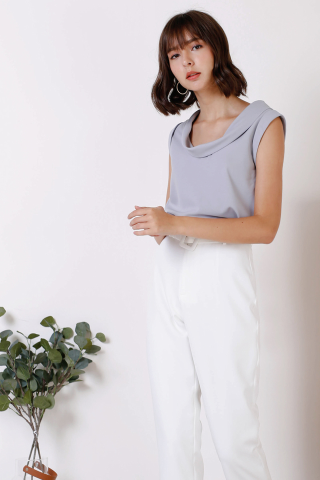 SARA COWL NECK TOP BLUE GREY