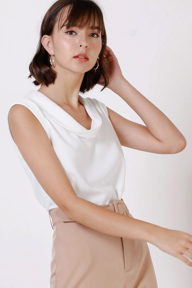 SARA COWL NECK TOP WHITE