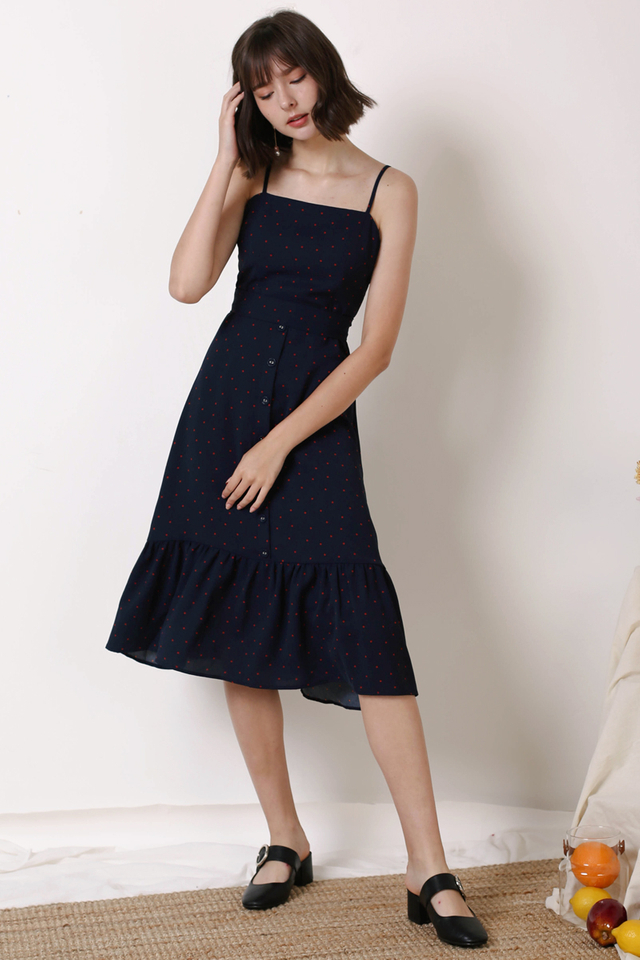 DIANA FRILL HEM DRESS NAVY