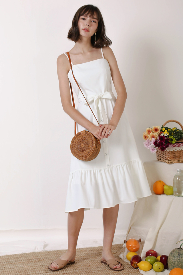 DIANA FRILL HEM DRESS WHITE