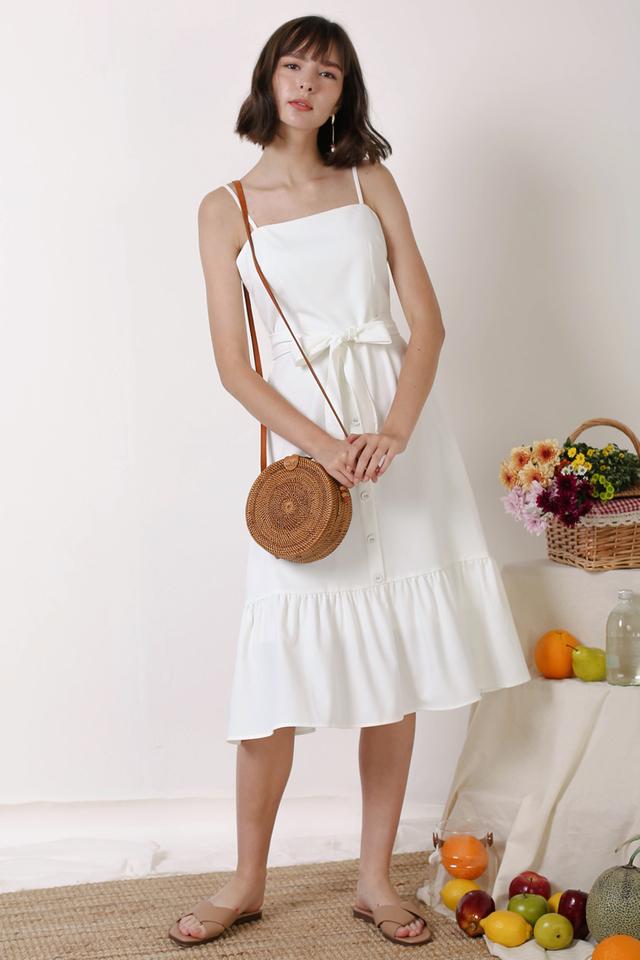 DIANA FRILL HEM DRESS WHITE