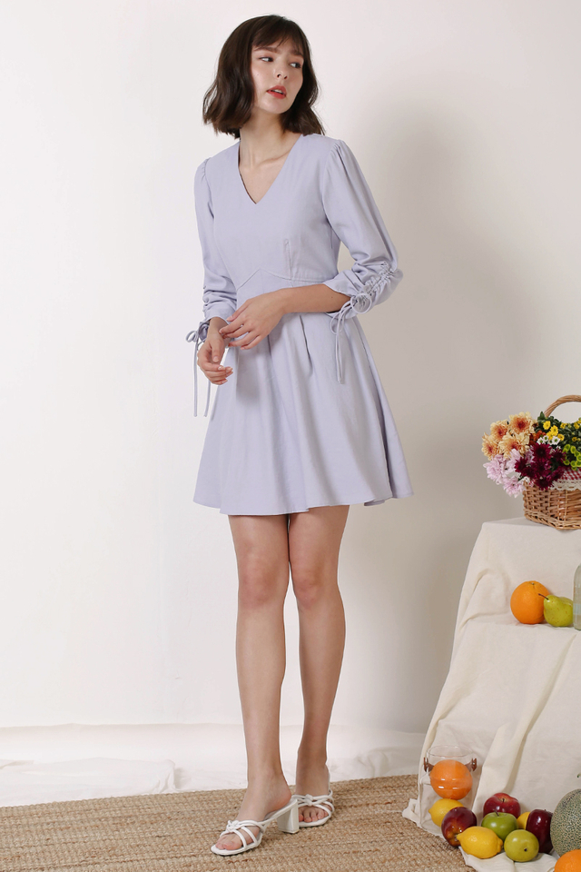 FIONA RUCHED SLEEVE DRESS PERIWINKLE